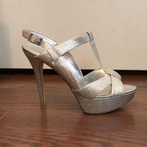 Aldo Silver Glitter Heels